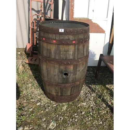 2 - A large wooden beer barrel...