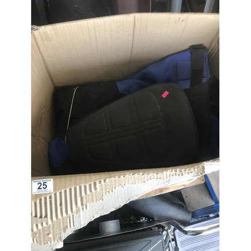 25 - Box including motorbike seat...