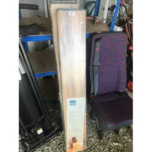 37 - Three boxes of Krono Original subtle wood grain effect laminate flooring...
