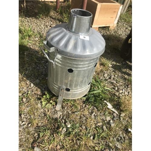 6 - Miniature galvanised incinerator dust bin...