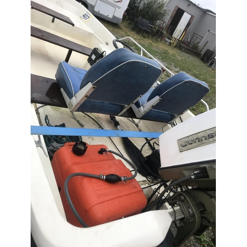 99 - Orkney Dory 14ft with 50hp electric start Johnson outboard, on galvanised trailer & winch...
