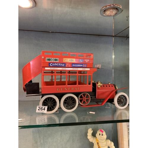 264 - Mamod steam engine 6 wheel bus...