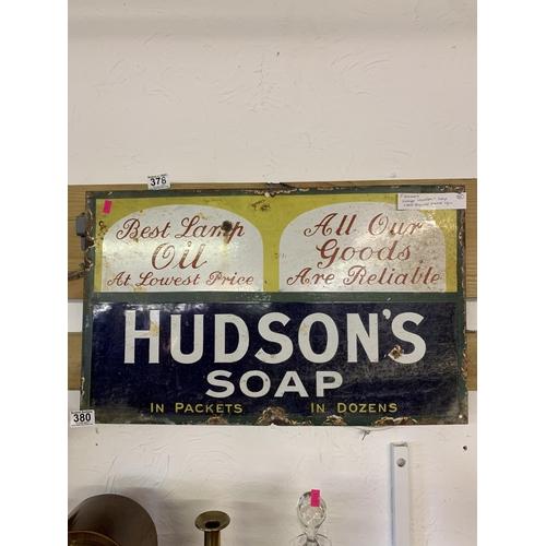 380 - Hudson's Soap wall sign in enamel...