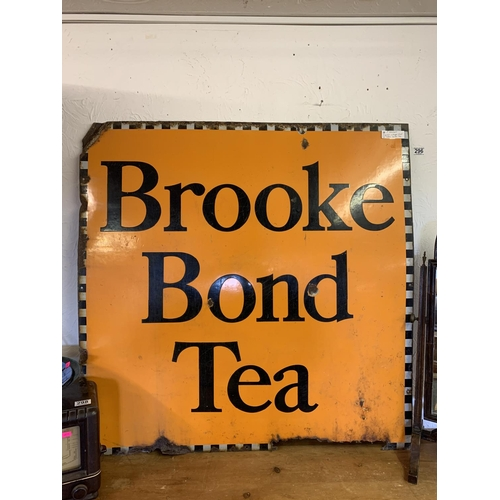 296 - Large vintage original village shop sign enamelled Brooke Bond Tea - 40 inch x 40 inch...