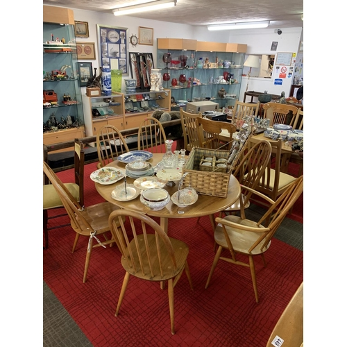 457 - Ercol drop leaf table with four dining chairs & two carvers...