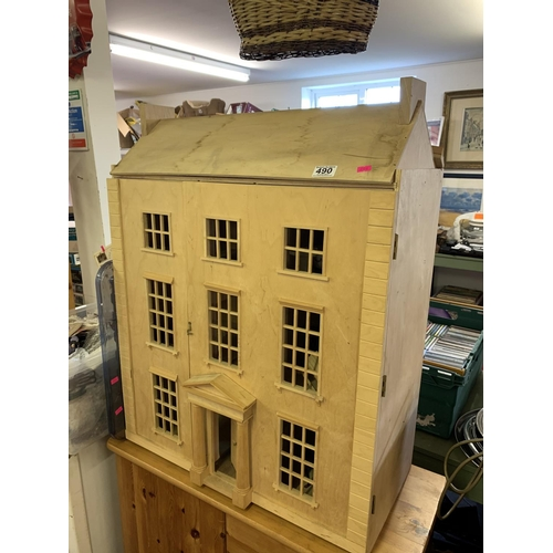 490 - Wooden dolls house with very large quantity of furnishings...