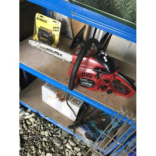 38 - Einhell petrol chainsaw - needs bar tightening but WO...