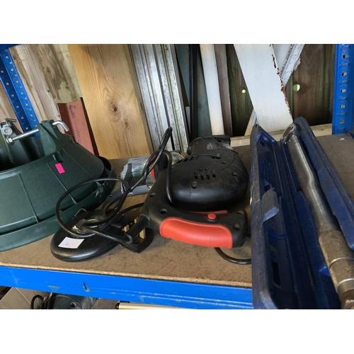 21 - Shelf of assorted items, Christmas tree stand, power tool, tape measure etc...
