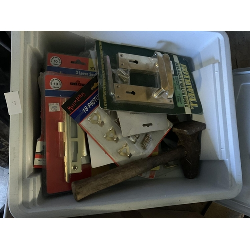 38 - Box containing door handles, picture hooks, tools & other items...