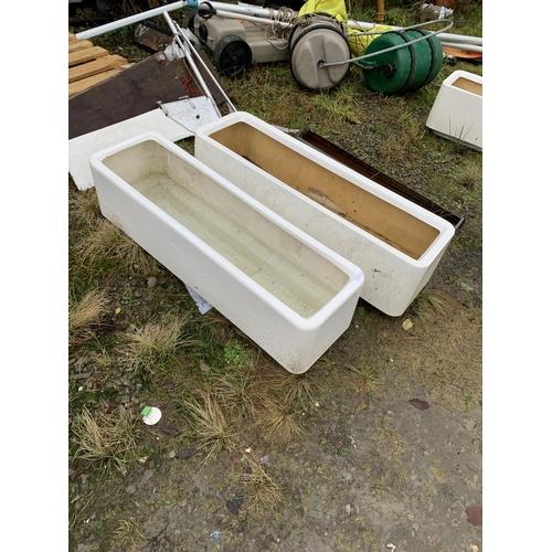 4 - Two large rectangular fibreglass planters...