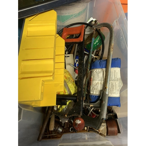 57 - Box of assorted tools including saws...