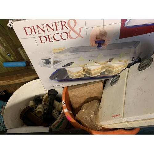 58 - Two buckets of assorted items including thermo tray set...