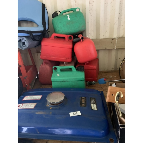 113 - Selection of fuel containers & fuel tank...