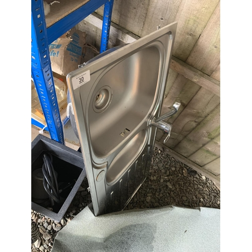 30 - Stainless steel sink with mixer tap...