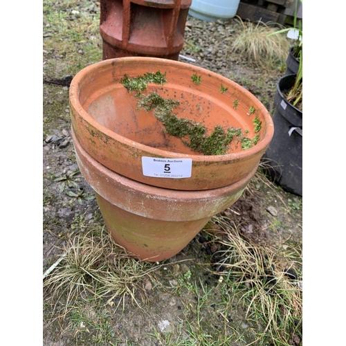 5 - Two terracotta plant pots...