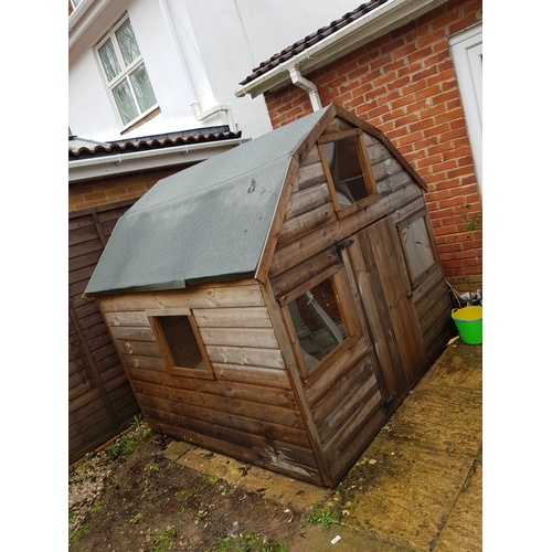 33 - Large wooden play house (dismantled with fittings in the office, photo attached of item when assembl...