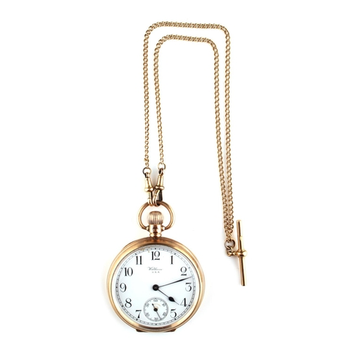 13 - Property of a deceased estate - a Waltham 9ct gold cased keyless wind pocket watch, with subsidiary ...