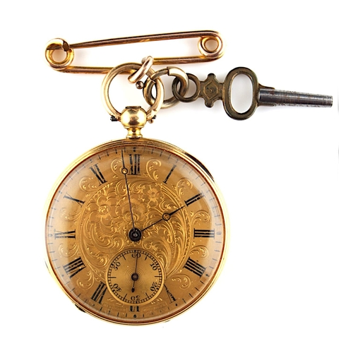 14 - Property of a deceased estate - a late 19th century Swiss gold (tests 18ct +) cased pocket watch, th...