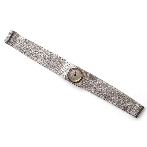 4 - Property of a lady - a lady's Bueche-Girod 9ct white gold wristwatch with integral 9ct white gold st...