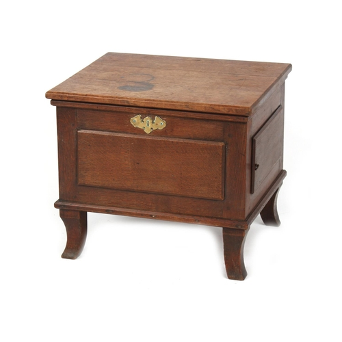 101 - Property of a lady - a George III oak box commode, interior bereft, 19.75ins. (50cms.) wide (see ill...
