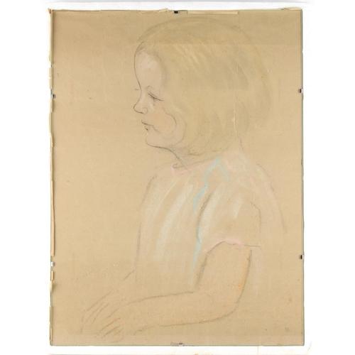 108 - Property of a deceased estate - a pastel sketch of a girl, glazed (see illustration)....