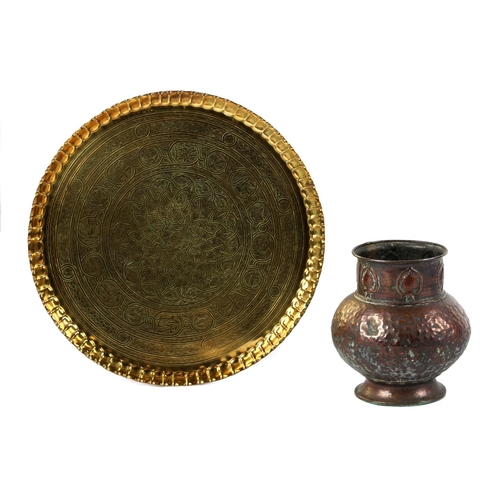 112 - Property of a lady - a Benares type engraved brass circular tray, 30.6ins. (77.8cms.) diameter; toge...