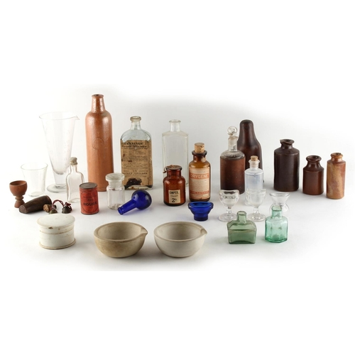 113 - Property of a lady - a quantity of chemist's apothecary bottles, etc. (a lot) (see illustration)....