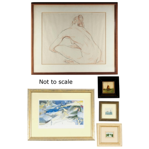 116 - Property of a deceased estate - a group of five assorted pictures & prints including a sepia pastel ...