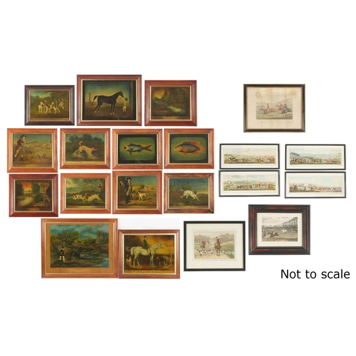 119 - Property of a gentleman - thirteen reproduction reverse prints on glass depicting sporting subjects;...