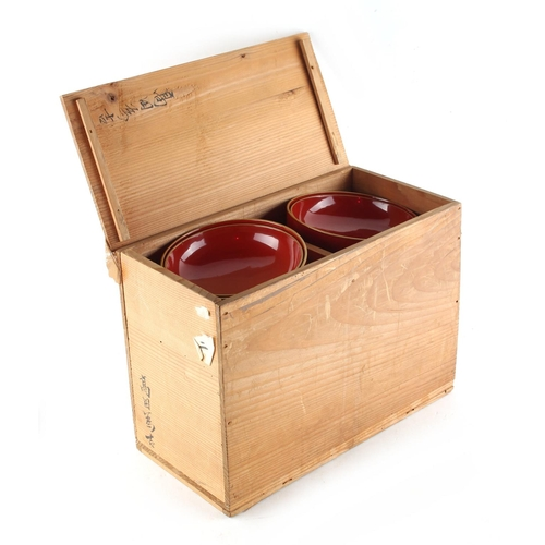 12 - Property of a gentleman - a set of ten Japanese lacquer bowls & covers, early 20th century, the cove...