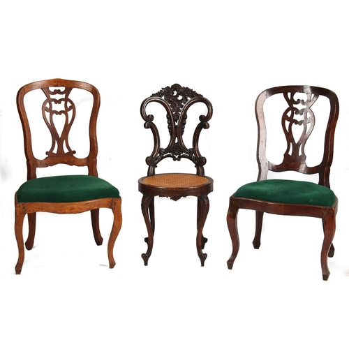 124 - Property of a gentleman - two similar 18th century French provincial fruitwood side chairs, with cab...