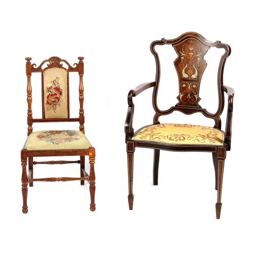 128 - Property of a lady - an Edwardian rosewood & marquetry inlaid salon elbow chair; together with a Vic...