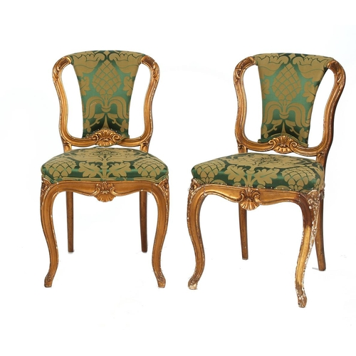 129 - Property of a lady - a pair of 19th century later gilt painted & upholstered side chairs (2) (see il...