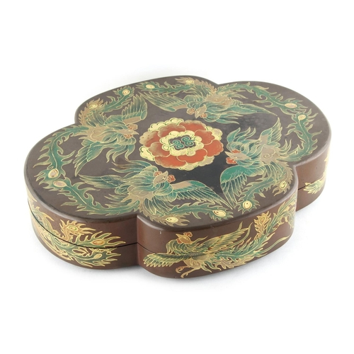 13 - Property of a lady - a late 19th / early 20th century lacquer quatrefoil box & cover, decorated with...