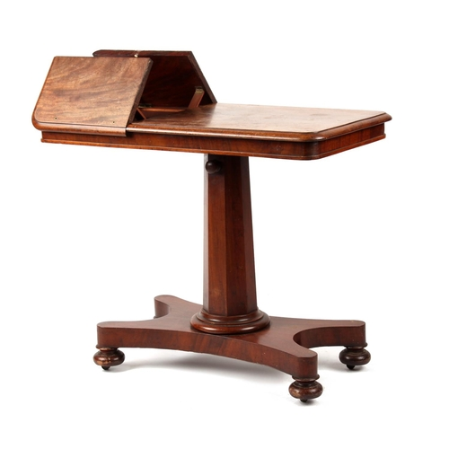 133 - property of a gentleman - an early Victorian mahogany adjustable pedestal reading table, with taperi...