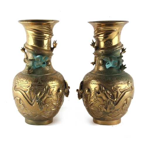 14 - Property of a gentleman - a pair of early 20th century Oriental bronze vases with dragon decorations...