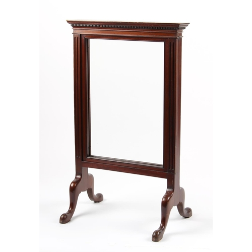 141 - Property of a deceased estate - an early 20th century mahogany firescreen with sliding glass panels,...