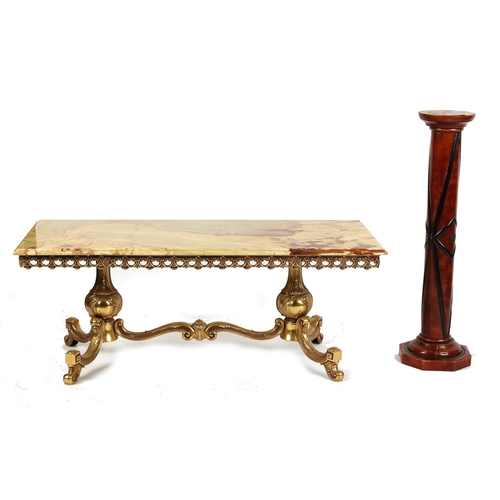 142 - Property of a deceased estate - a brass & onyx rectangular topped coffee table, 47.25ins. (120cms.) ...
