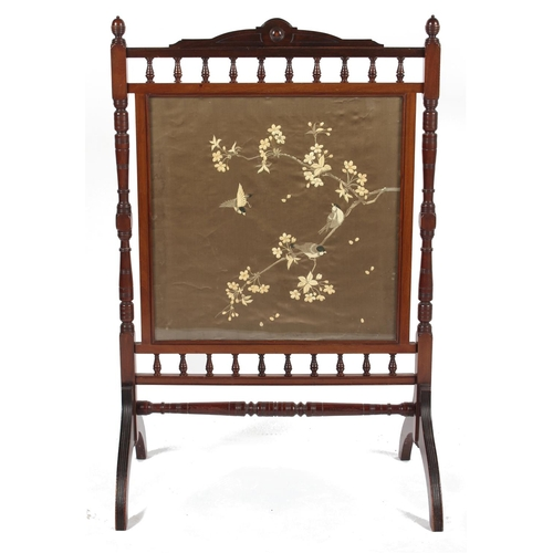 145 - Property of a deceased estate - an Edwardian walnut firescreen with Japanese embroidered silk panel ...