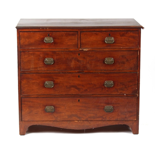 152 - Property of a deceased estate - an early 19th century George IV mahogany chest of drawers, on bracke...