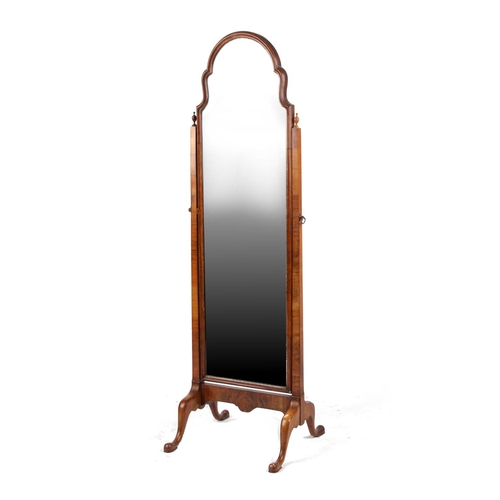 153 - Property of a lady - a mid 20th century Queen Anne style walnut cheval mirror, 60ins. (152cms.) high...