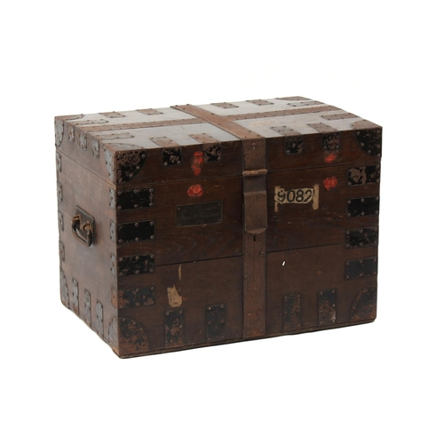 161 - Property of a lady - a late 19th / early 20th century oak & metalbound silver chest, enclosing felt ...