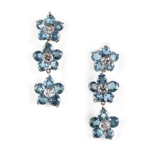 170 - An attractive pair of aquamarine & diamond pendant earrings, for pierced ears, each modelled as a st...