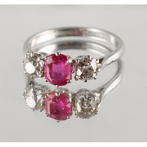 173 - A platinum ruby & diamond three stone ring, the certificated untreated Burmese cushion cut ruby weig...