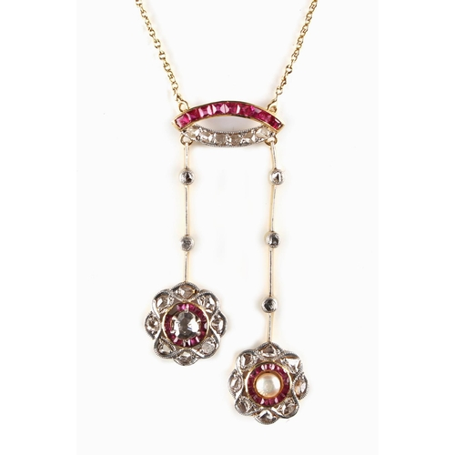 175 - An attractive yellow gold ruby diamond & pearl tassel necklace, 17.75ins. (45cms.) long (see illustr...