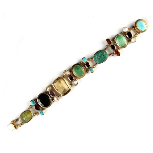 177 - A multi gem set panel bracelet, including two cameos the stones including malachite & turquoise, 7in...