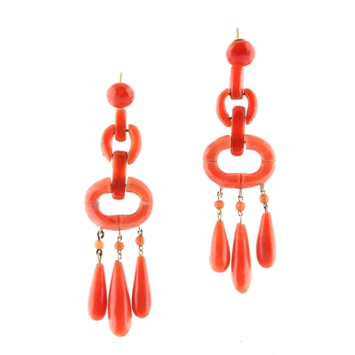 182 - A pair of coral link drop earrings, probably en suite with the preceding lot, for pierced ears, each...