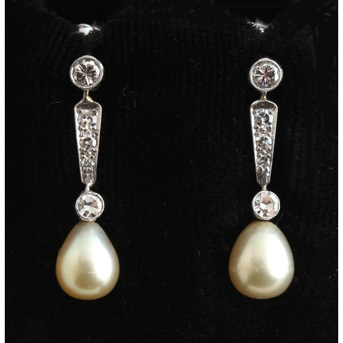 183 - A pair of certificated natural saltwater pearl & diamond drop earrings, the two pearls of cream colo...