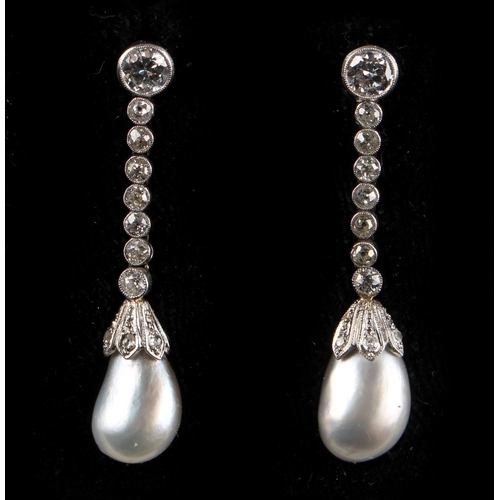 185 - A large pair of certificated natural saltwater pearl & diamond drop earrings, the two pearls of ligh...