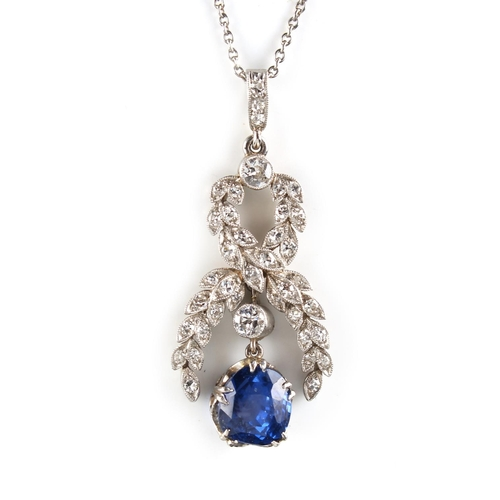 186 - A fine Belle Epoque style sapphire & diamond pendant on chain necklace, the certificated untreated C...